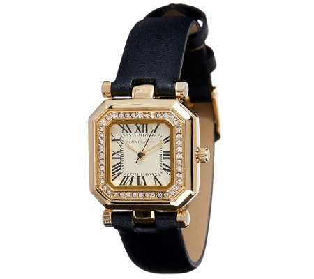"""As Is"" Isaac Mizrahi Live! Octagon Crystal Bezel Leather Strap Watch"