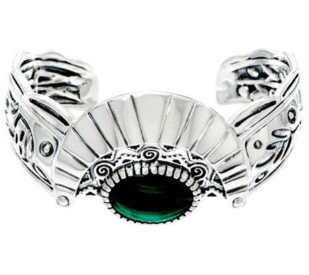 Fritz Casuse Sterling & Malachite Harvest Moon Cuff Bracelet