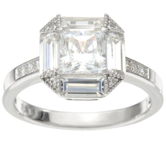 Diamonique Princess and Baguette Cut Ring, Platinum Clad - J330108