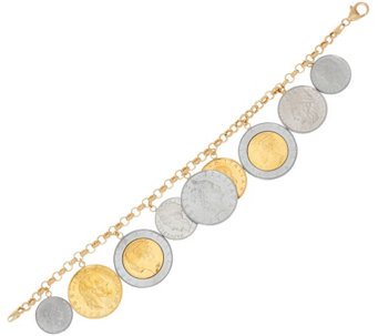 """As Is"" Vicenza Gold Lire Coin Charm Bracelet, 14K Gold - J330408"