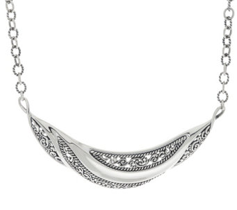 Carolyn Pollack Sterling Silver Signature Wave Statement Necklace 27.4g - J330808