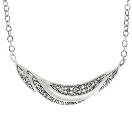 Carolyn Pollack Sterling Silver Signature Wave Statement Necklace 27.4g