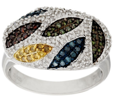 """As Is"" Multi- Color Diamond Ring, Sterling, 8/10 cttw by Affinity"