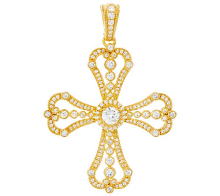 Judith Ripka Sterling or 14K Clad Diamonique Cross Enhancer