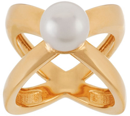 """As Is"" Honora Cultured Pearl 9.0mm X Design Bronze Ring"