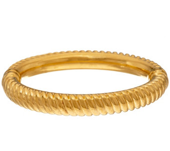 """As Is"" Oro Nuovo Large Ribbed Oval Hinged Bangle Bracelet, 14K - J331808"