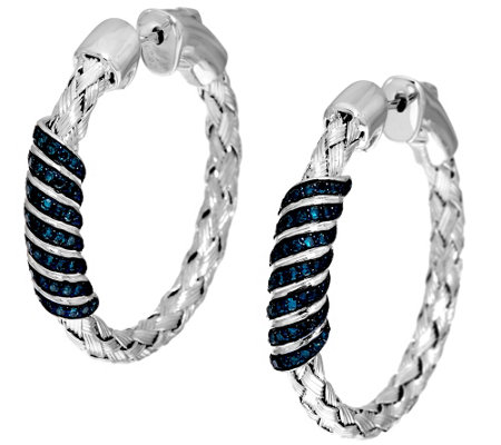 """As Is"" Woven Diamond Hoop Earrings Sterl. 1/2 cttw by Affinity"