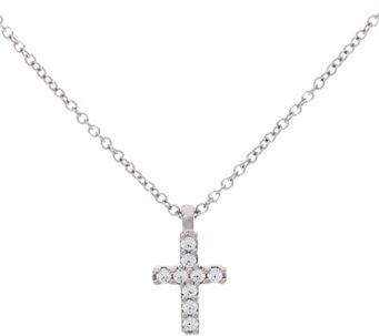 Diamonique Cross Pendant w/ Chain, Sterling or 14K Clad - J333408