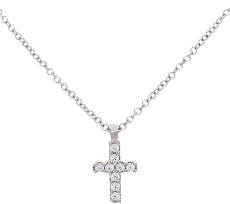 Diamonique Cross Pendant w/ Chain, Sterling or 14K Clad