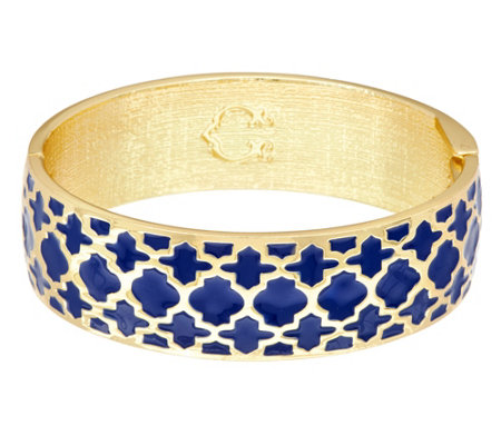 C. Wonder Trellis Enamel Oval Hinged Bangle