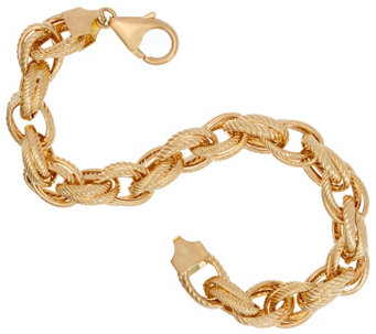 """As Is"" Vicenza Gold 6-3/4"" Double Rope Link Bracelet, 14K, 7.1g - J333808"