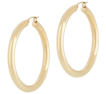 "Dieci 1-1/2"" Polished Round Hoop Earrings, 10K Gold - J334608"
