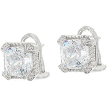 Judith Ripka Sterling 118 Facet Cushion Diamonique Earrings