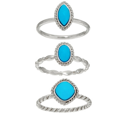"""As Is"" Sleeping Beauty Turquoise Sterling Set of 3 Stack Rings"