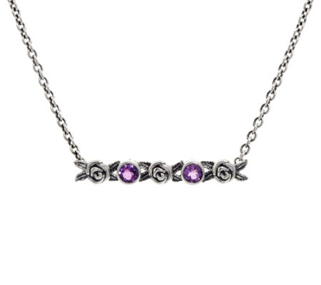 Or Paz Sterling Silver Gemstone & Rose Bar Necklace