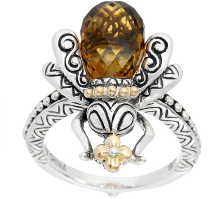 Barbara Bixby Sterling & 18K 3.50 ct Citrine Bee Ring