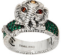 JAI Sterling Silver & 14K Gold Elephant & Pave Band Ring - J351808
