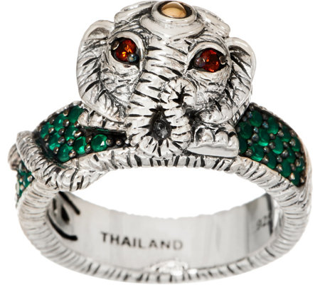 JAI Sterling Silver & 14K Gold Elephant & Pave Band Ring