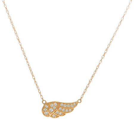 """As Is"" Diamonique Bitty Angel Wing Necklace, 14k Gold"