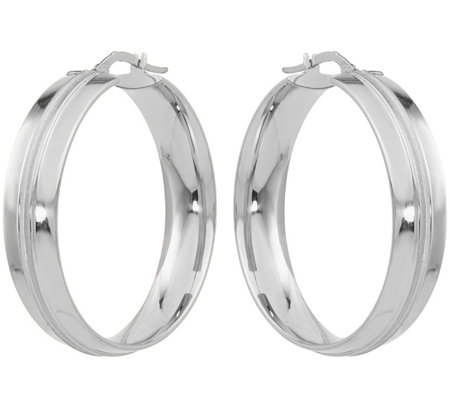 14K Round Groove Hoop Earrings