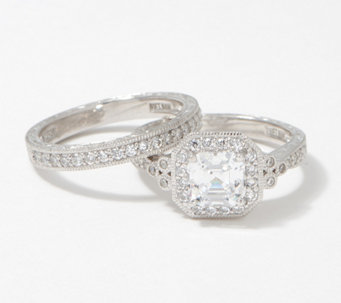 diamonique 250 cttw 2 piece ring set platinum clad j377608 - Diamonique Wedding Rings