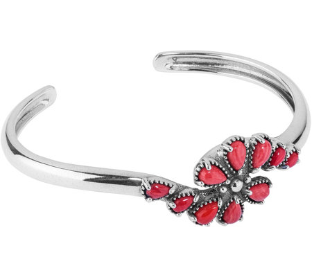 American West Sterling Silver Red CoralCluster Cuff