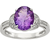 Sterling Oval Gemstone & Diamond Accent Ring - J378208