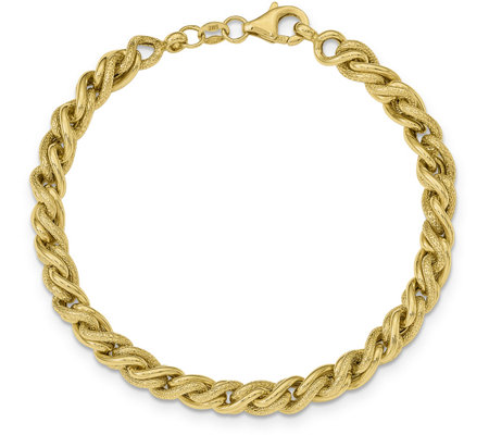 14K Gold Twisted Curb Link Bracelet, 7.7g