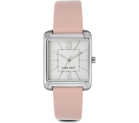 Nine West Ladies Farrensal Square Case Pink Strap Watch