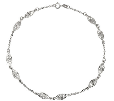 14K Gold Oval Station Anklet, 2.4g