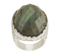 Paola Valentini Sterling Oval Faceted Gemstone Bubble Ring - J263309