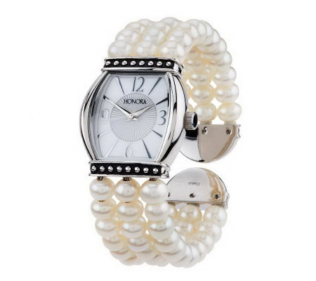 Honora Cultured Rondel Pearl Cuff Watch w/ Mother-of-Pearl Dial