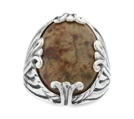 """As Is"" Sterling Oregon Oval Gemstone Textured Ring"