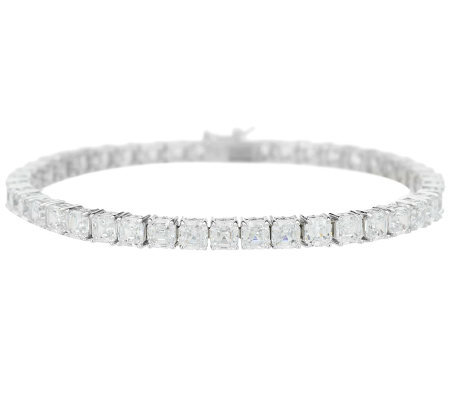 Diamonique Asscher Cut Tennis Bracelet, Platinum Clad