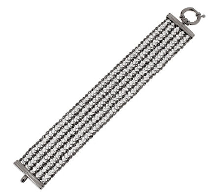 "Vicenza Silver Sterling 7-1/4"" Multi-strand Diamonique & Rope Bracelet"