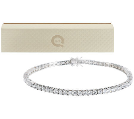 Diamonique 100-Facet Round Tennis Bracelet Sterling or 14K Gold Clad