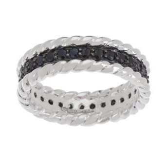 UltraFine Silver Black Spinel Eternity Band Ring - J281509