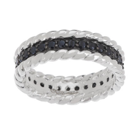 UltraFine Silver Black Spinel Eternity Band Ring