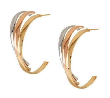 """As Is"" Polished Triple Illusion Hoop Earrings, 14K Gold"