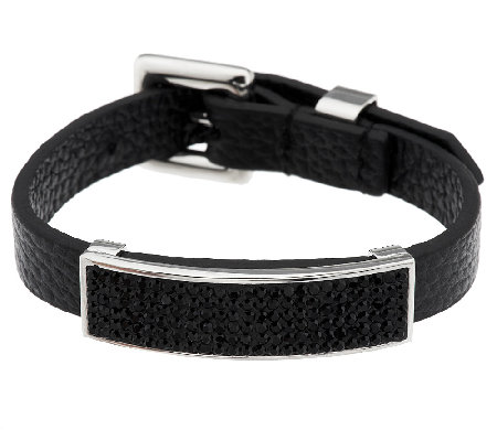 Stainless Steel Adjustable Crystal Station Leather Bracelet