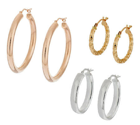 Set of 3 14K Gold, 950 Silver & Bronze Hoop Earrings