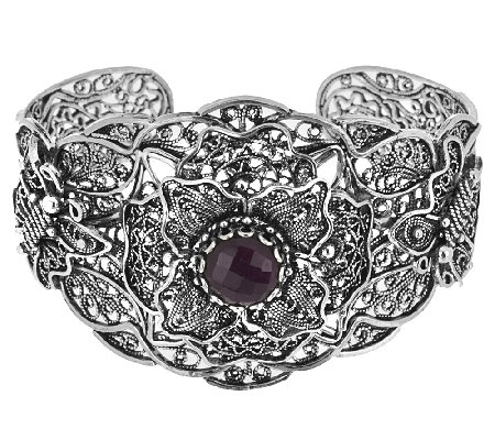 Artisan Crafted Sterling Indian Ruby Telkari Filligree Cuff