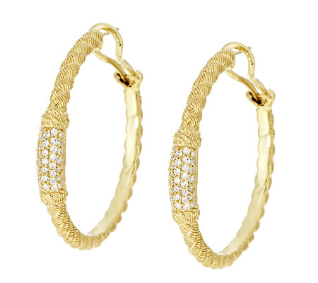 Judith Ripka Sterling 14K Clad Diamonique Pave Hoop Earrings