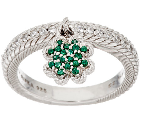 Judith Ripka Sterling Green & White Diamonique Clover Ring