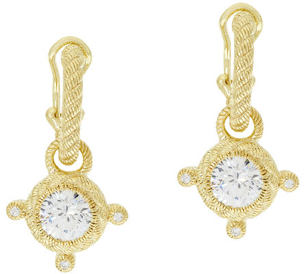 Judith Ripka Sterling & 14K Clad 4.25 cttw Diamonique Hoop Charm Earrings