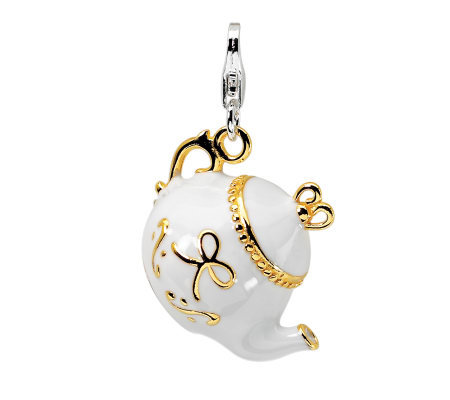 Amore La Vita Sterling Gold-Plated White TeapotCharm