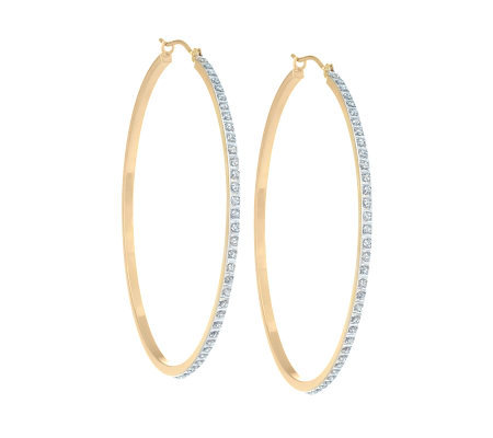 "Diamond Fascination 1-3/4"" Hoop Earrings, 14K Yellow Gold"