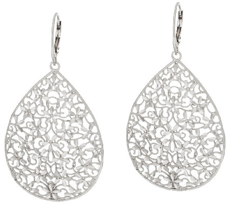 Vicenza Silver Sterling Large Diamond Cut Pear Shape Dangle Earrings