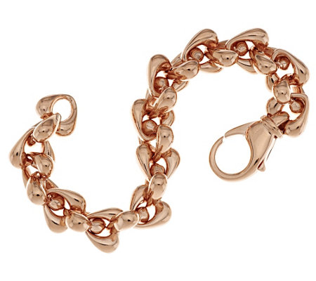 """As Is"" Bronzo Italia Polished Status Teardrop Rolo Link Bracelet"