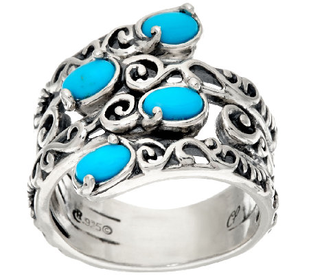 Carolyn Pollack Sterling Silver Sleeping Beauty Turquoise Bypass Ring